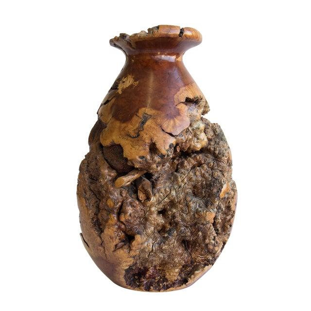 Turned Burl Wood Vase - Image 1 of 10