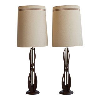 Mid-Century Carved Wood Lamps - A Pair
