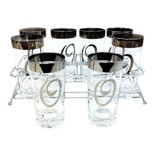 Mid Century Dorothy Thorpe O Monogram Highball Glasses with Carrier-Set of 8