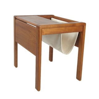 Danish Modern Teak Side Table With Magazine Rack