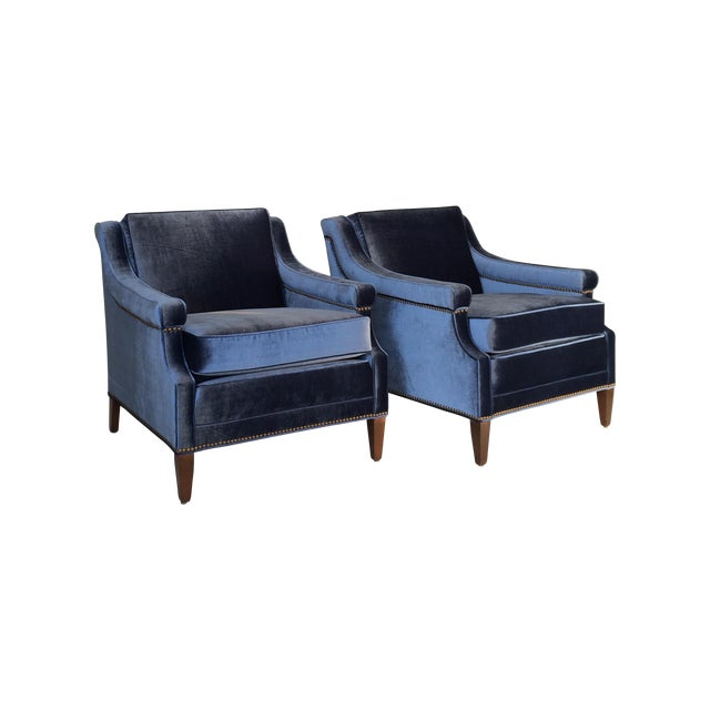Mid-Century Blue Velvet Club Chairs - A Pair - Image 1 of 10