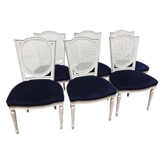 White Lacquer Dining Chairs W/ Velvet Seat - S/6