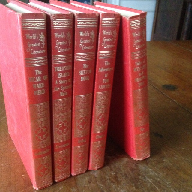 Mid-Century Decorative Red & Gold Classic Books - Set of 5 - Image 4 of 11