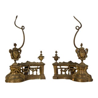 Pair of Louis XVI Style Aged Bronze Dore Chenets from Belle Epoque period France c.1890