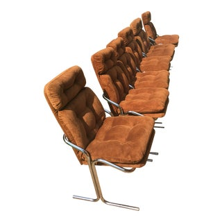 Mid-Century Modern Orange Chrome Chairs - Set of 6