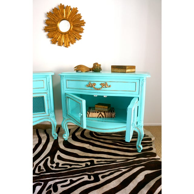 French Style Turquoise Nightstands - Pair - Image 6 of 10