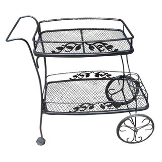 Woodard Black Wrought Iron Bar Cart