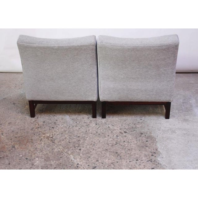 Image of Pair of Danish Slipper Chairs in Chenille and Rosewood