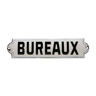 "French ""Bureaux"" Black & White Enamel Offices Sign"