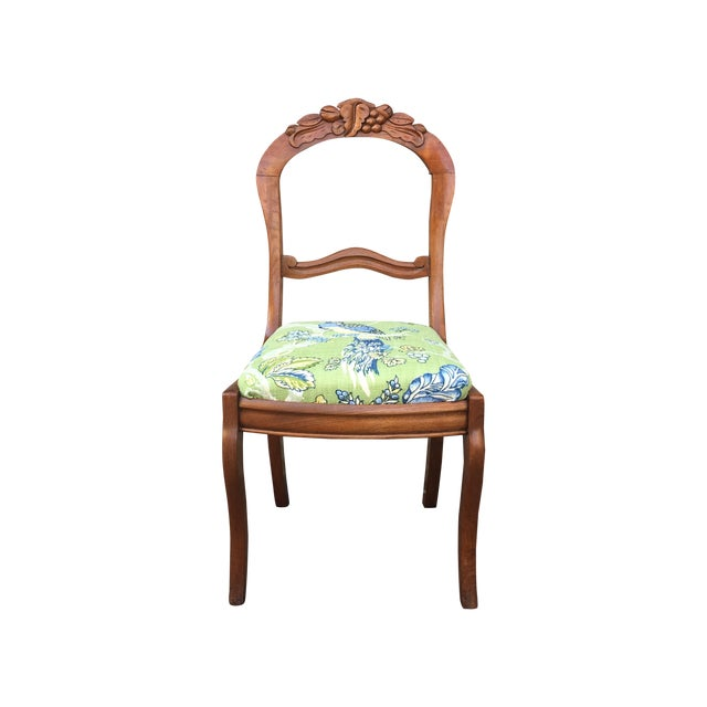 Blue & Green Peacock & Floral Chair - Image 1 of 6