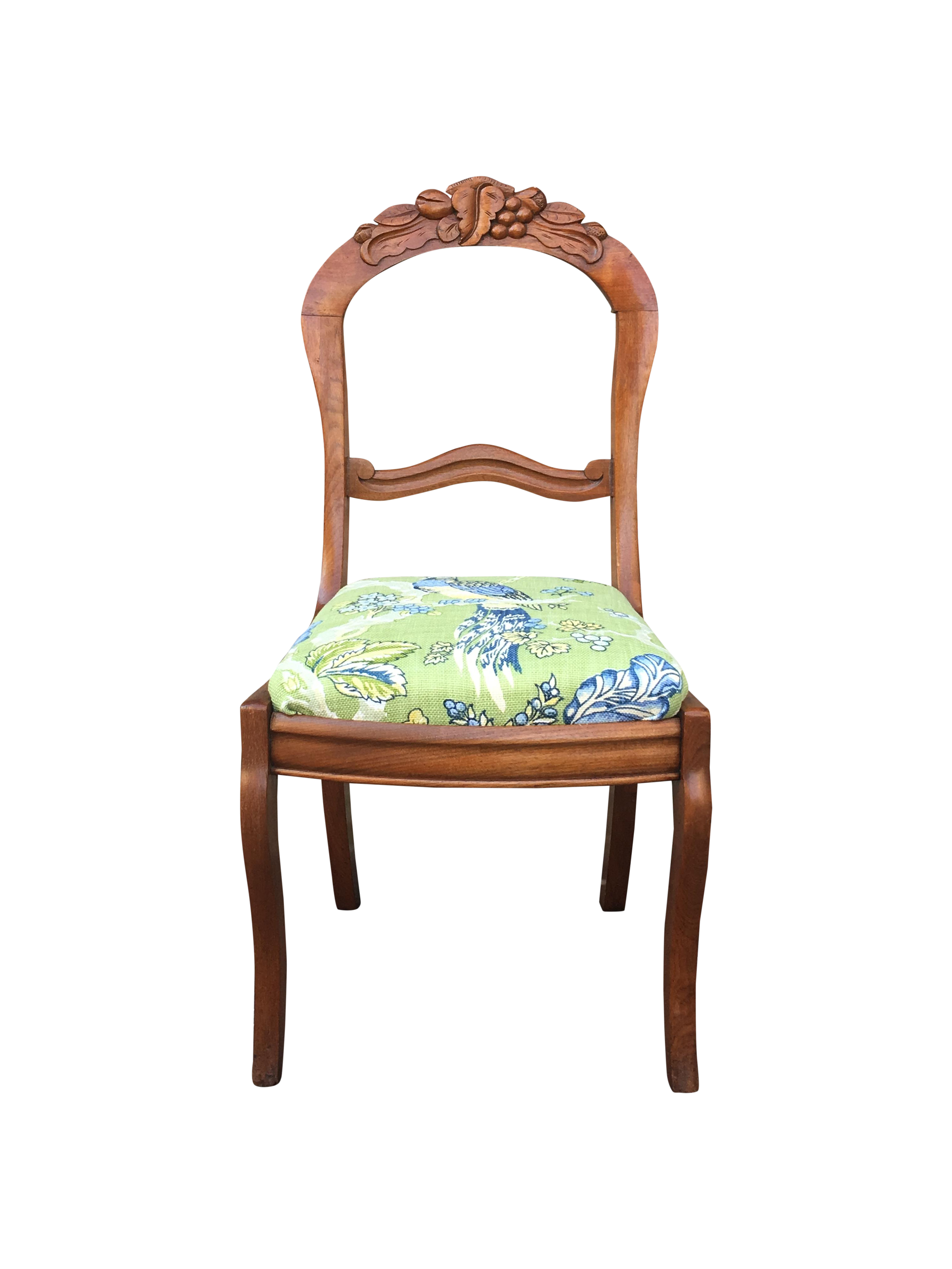 Blue & Green Peacock & Floral Chair