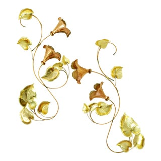 Vintage Copper Flower Wall Hanging - A Pair