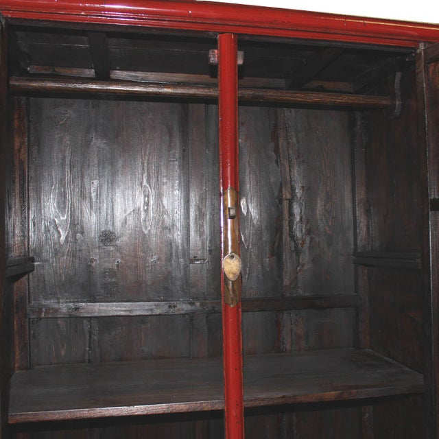 Vintage Chinese Red Lacquer Armoire Wardrobe Chest - Image 4 of 6