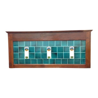 Antique English Washstand Framed Tile Backsplash