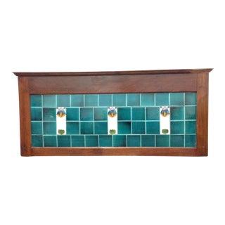 Antique English Washstand Framed Tile Backsplash