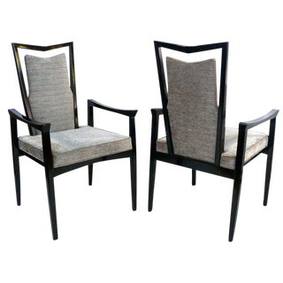 Pair of Ebonized Regal Armchairs