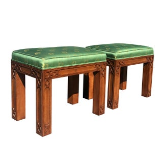 Vintage Hollywood Regency Fretwork Benches/Stools - A Pair