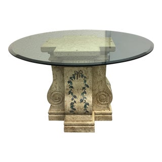 Glass Top Table With Hand Painted Base