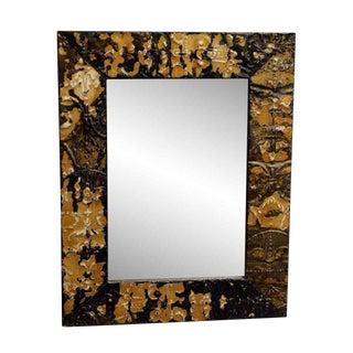Tan & Brown Fleur De Lis Tin Mirror