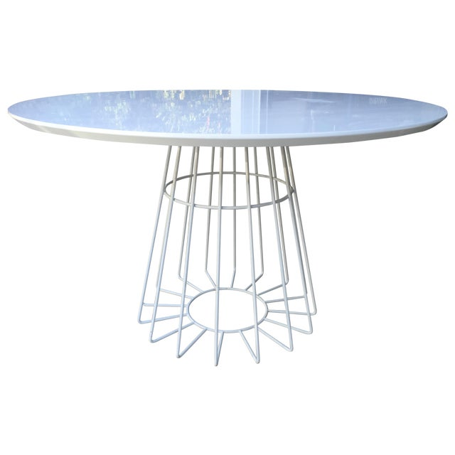 CB2 Ceci Thompson White Compass Dining Table - Image 1 of 5