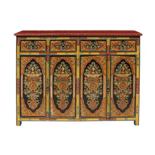 Chinese Tibetan Jewel Flower Tall Credenza