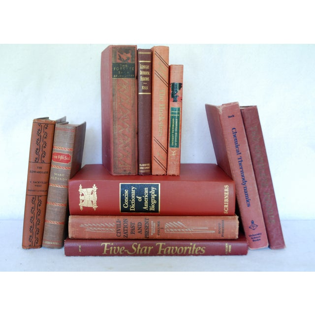 Vintage Red Decorative Book Set of 11 - Image 2 of 3