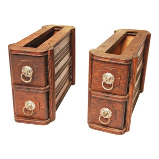 Vintage Wood Sewing Machine Drawers - Set of 4