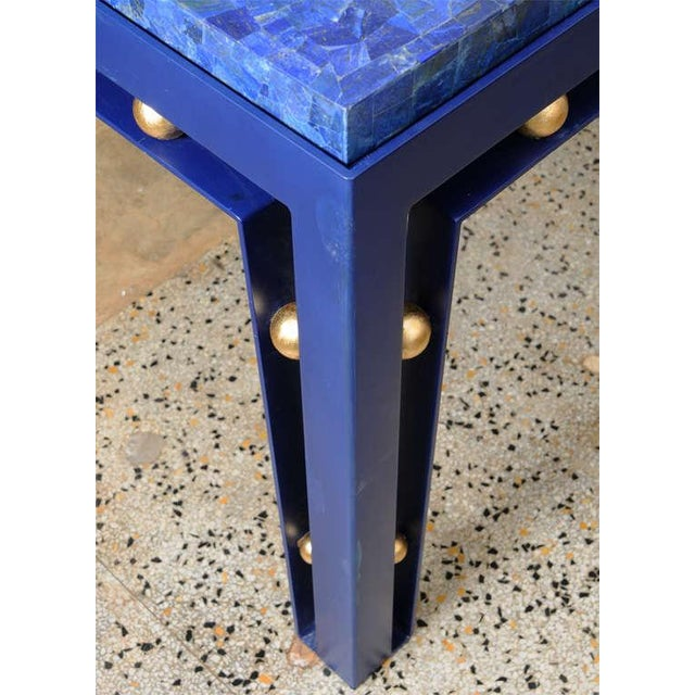 Important Iron Library Table with Lapis Lazuli Top in the Manner of Royere - Image 3 of 8