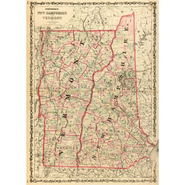 Antique Map of New Hampshire & Vermont, 1861 - Image 4 of 4