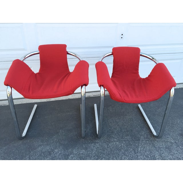 Image of Vecta Vintage Zermatt Chrome Sling Chairs - A Pair