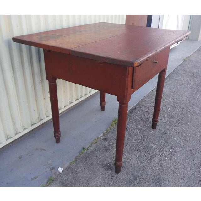 18thc Original Red Lift Top Tavern Table With Original Drawer - Image 6 of 10