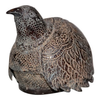 19th Century Asian Bronze Bird Box