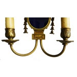 Image of French Bronze & Blue Louis XVI Sconces - A Pair