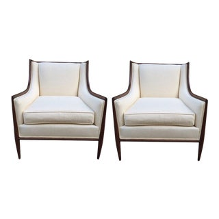 Pair of Walnut and Linen Upholstered Lounge Chairs