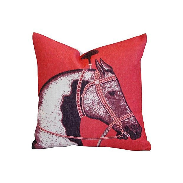 Custom Red Roman Horse Linen Pillows - a Pair - Image 2 of 7