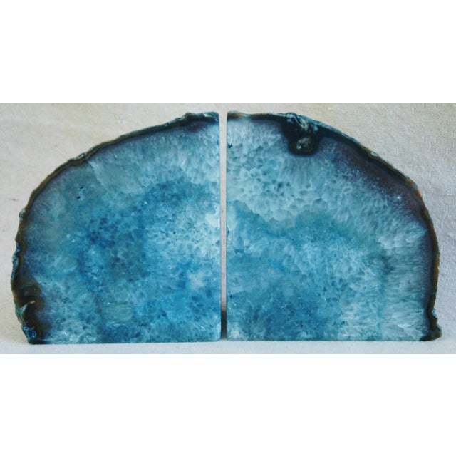 Deep Blue Polished Crystal Rock Geode Bookends - Image 2 of 6