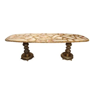 1960s Italian Onyx, Gold Leaf, and Brass Mosaic Italian Coffee Table