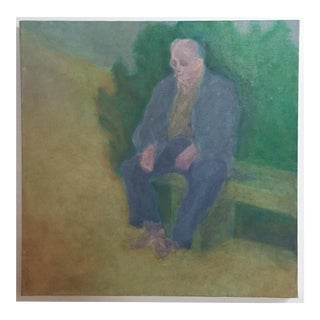 Vintage Man on a Bench Oil Painting
