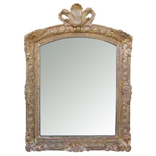 An Elegant French Regence Carved Giltwood Mirror w/Plumed Crest