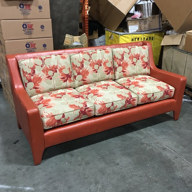 Image of Leathercraft Orange Floral Sofa