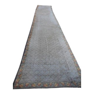 "Antique European Donegal Carpet - 5'9"" x 31'"