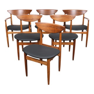 Vintage Mid Century Oak & Walnut Dining Chairs - Set of 6