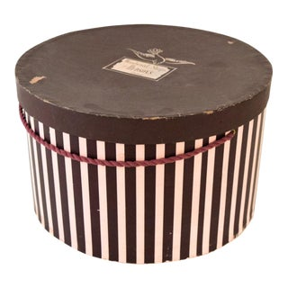 Vintage Pink & Eggplant Striped Hudson's Department Store Detroit Hat Box