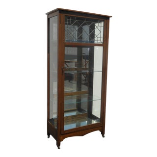 Vintage French Country Oak Wood & Glass Curio Display Cabinet