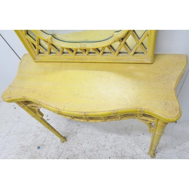 Chinoiserie Yellow Console Table & Mirror - Image 7 of 8