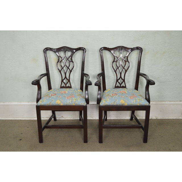 Councill Craftsman Solid Mahogany Chippendale Style Dining Chairs - Set of 8 - Image 2 of 10