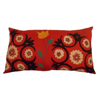 Uzbek Bridal Suzani Pillow Sham with Tulip