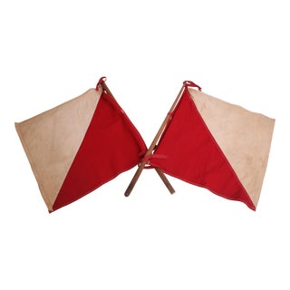 Vintage Red & White Airplane Signal Flags - A Pair