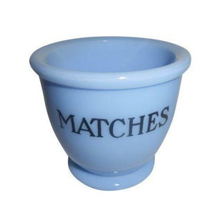 Vintage Delphite Blue Matches Holder