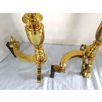 Image of Antique 1908 W.H. Jackson Brass Andirons - A Pair